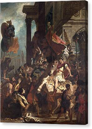 The Justice Of Trajan 53-117 1840 Oil On Canvas Canvas Print by Ferdinand Victor Eugene Delacroix