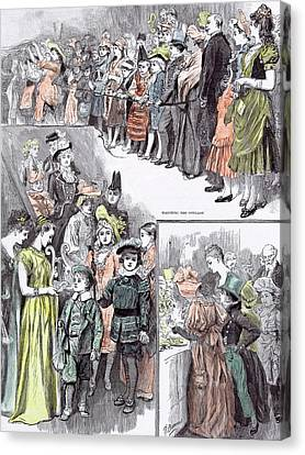 The Juvenile Fancy Dress Ball In 1891 Watching The Cotillon Canvas Print by English School