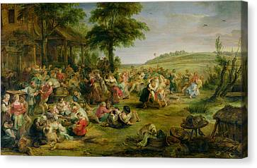 The Kermesse, C.1635-38 Oil On Panel Canvas Print
