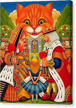 Cheshire Cat Canvas Print - The King And Queen Of Hearts, 2010 by Frances Broomfield