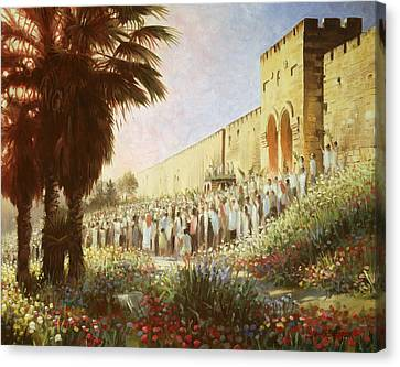 Flowers Names Canvas Print - The King Is Coming  Jerusalem by Graham Braddock