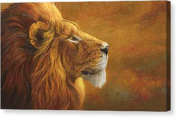 Lion Canvas Print - The King by Lucie Bilodeau