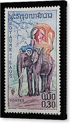 Canvas Print featuring the photograph The King's Elephant Vintage Postage Stamp Print by Andy Prendy