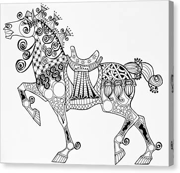 The King's Horse - Zentangle Canvas Print by Jani Freimann