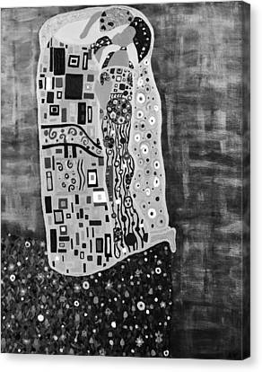 The Kiss Bw Canvas Print by Angelina Vick