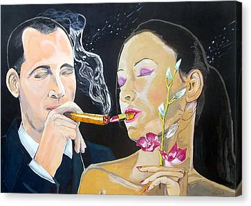 Canvas Print featuring the painting The Kiss Edge Listen With Music Of The Description Box by Lazaro Hurtado