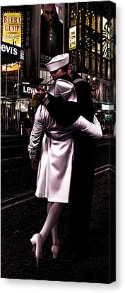 The Kiss In Times Square Canvas Print by Evie Carrier