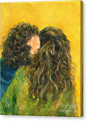 The Kiss Of Two Curly Haired Lovers Canvas Print