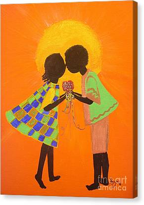 Canvas Print featuring the painting The Kiss - Young Love Series by Barbara Hayes