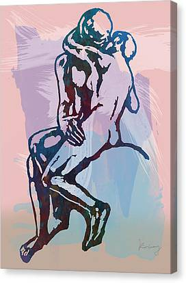 The Kissing - Rodin Stylized Pop Art Poster Canvas Print by Kim Wang