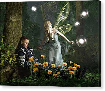 The Knight And The Faerie Canvas Print by Daniel Eskridge