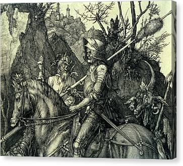 The Knight, Death And The Devil Canvas Print by Albrecht Durer or Duerer