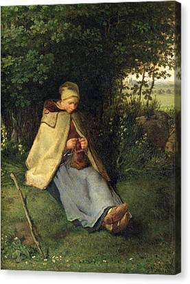 Knitting Canvas Print - The Knitter Or, The Seated Shepherdess, 1858-60 Oil On Canvas by Jean-Francois Millet