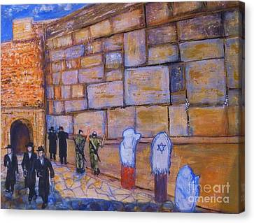 Canvas Print featuring the painting The Kotel by Donna Dixon