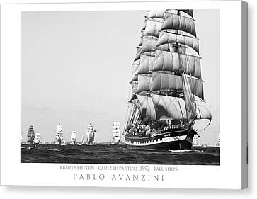 The Kruzenshtern Departing The Port Of Cadiz Canvas Print