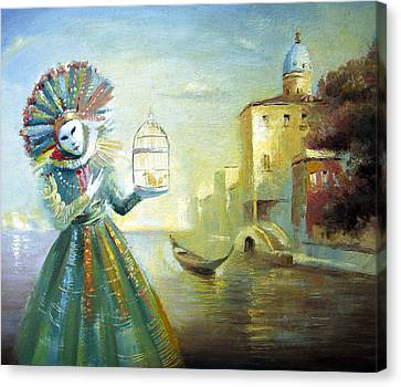 Canvas Print featuring the painting The Lady With The Cage by Dmitry Spiros