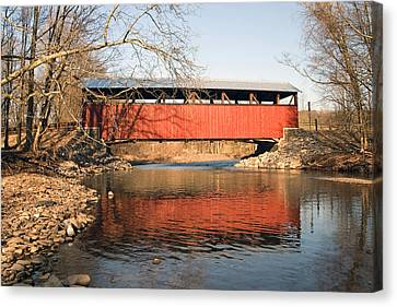 Canvas Print featuring the photograph The Lairdsville Covered Bridge After The Flood by Gene Walls