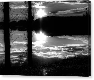 The Lake - Black And White Canvas Print