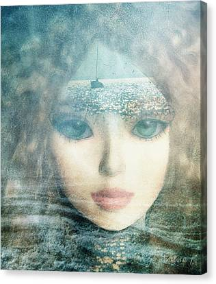Canvas Print featuring the digital art The Lake Muse by Barbara Orenya