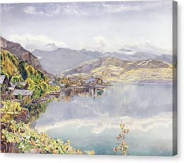 The Lake Of Lucerne, Mount Pilatus Canvas Print by John William Inchbold