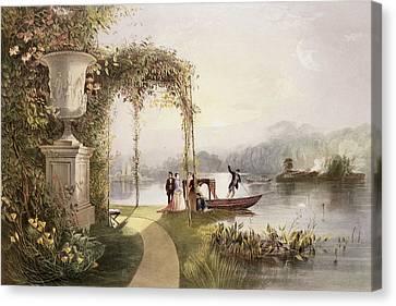 The Lake  Trentham Hall Gardens Canvas Print by E Adveno Brooke