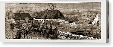 The Land Agitation In Ireland Erecting A Police Hut At New Canvas Print by Litz Collection