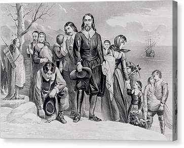 The Landing Of The Pilgrims At Plymouth, Mass. Dec. 22nd, 1620, Pub. 1876 Engraving Bw Photo Canvas Print by N. Currier