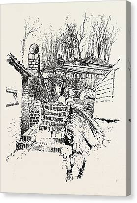 The Landslip At Sandgate Destruction Of Prospect Nurseries Canvas Print by English School