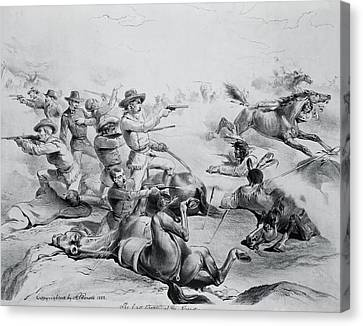 The Last Battle Of General Custer, 25th June 1876, C.1882 Litho B&w Photo Canvas Print by American School