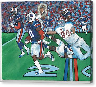 The Last Grasp Alabama Auburn Iron Bowl 2013 Add Nostalgia  Canvas Print by Ricardo Of Charleston