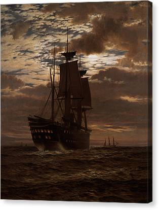Pirate Ship Canvas Print - The Last Indian Troopship Hms Malabar by Charles Parsons Knight