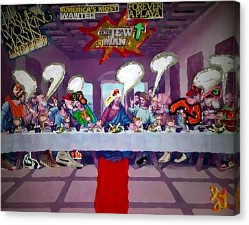 Canvas Print featuring the painting The Last Last Supper by Lisa Piper