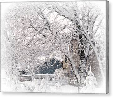 Canvas Print featuring the photograph The Last Snow Storm by Kay Novy