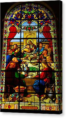 Canvas Print featuring the photograph The Last Supper In Stained Glass by John S