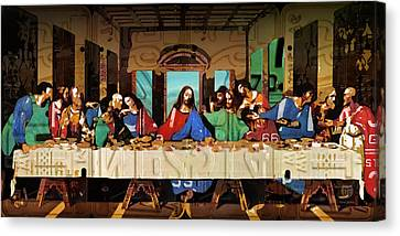 The Last Supper By Leonardo Da Vinci Recreated In Recycled Vintage License Plates Canvas Print by Design Turnpike
