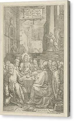 The Last Supper, Print Maker Hendrick Goltzius Canvas Print by Hendrick Goltzius And Lucas Van Leyden