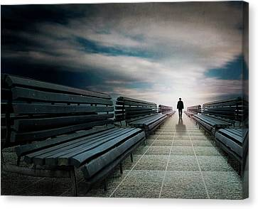 Benches Canvas Print - The Last To Leave And So Lonely. by Ben Goossens
