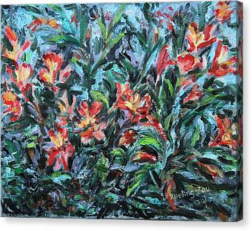 Canvas Print featuring the painting The Late Bloomers by Xueling Zou