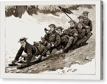 Coasting Canvas Print - The Late Frost Coasting On A Bob Sleigh At Harrow by Litz Collection