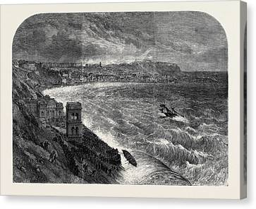 The Late Gales The Storm At Scarborough Canvas Print by English School