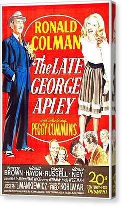 Films By Joseph L Mankiewicz Canvas Print - The Late George Apley, Us Poster by Everett