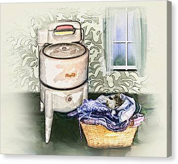 Canvas Print featuring the digital art The Laundry Room by Mary Almond