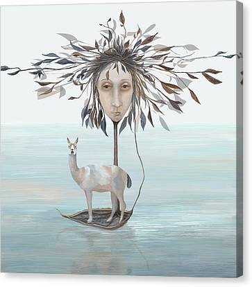 The Leaf Boatman Canvas Print by Catherine Swenson
