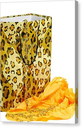 Gold Necklace Canvas Print - The Leopard Gift Bag by Diana Angstadt