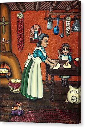 Cook Canvas Print - The Lesson Or Making Tortillas by Victoria De Almeida