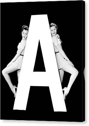 Full Skirt Canvas Print - The Letter a And Two Women by Underwood Archives