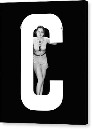 Full Skirt Canvas Print - The Letter c And A Woman by Underwood Archives