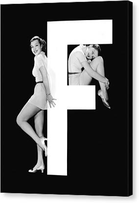 Full Skirt Canvas Print - The Letter f And Two Women by Underwood Archives