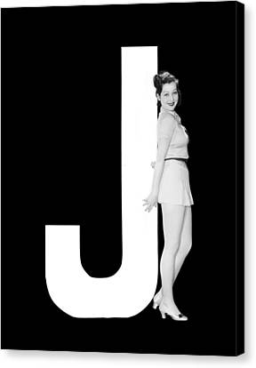 Full Skirt Canvas Print - The Letter j And A Woman by Underwood Archives