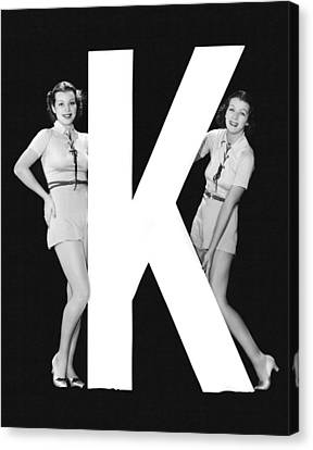 The Letter k  And Two Women Canvas Print by Underwood Archives